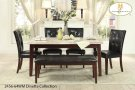 The Decatur Collection. Wood legs in espresso finish support both the white marble table top and chair seats. covered in dark brown bi-cast vinyl, the tufted accenting on the chair and bench lend not only to the design but also to your comfort, when you s Product Image