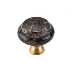 Green Ubatuba Granite Knob 1 3/8 Inch - Brass