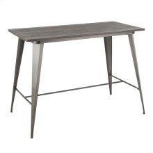 Oregon Counter Table - Antique Metal, Espresso Bamboo