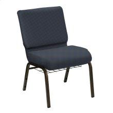 Wellington Denim Upholstered Church Chair with Book Basket - Gold Vein Frame