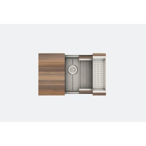 "SmartStation® 005452 - undermount stainless steel Kitchen sink , 30"" × 18 1/8"" × 10"" (Walnut)"