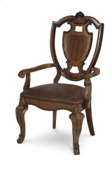 Old World Shield Back Arm Chair Leather Seat Product Image