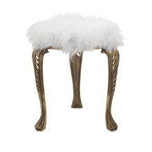 Nikki Chu Neely White Fur Stool