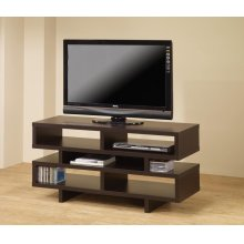 Contemporary Cappuccino Open Storage TV Console