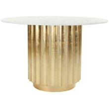 Laelia Gold Dining Table - Gold Leaf / White