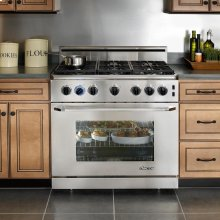 "Renaissance 36"" Gas Range, in Stainless Steel, with Chrome Trim and 6"" Backguard, Liquid Propane - High Altitude"
