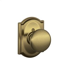 Plymouth Knob with Camelot trim Non-turning Lock - Antique Brass