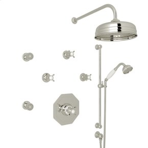 Polished Nickel Perrin & Rowe Edwardian Thermostatic Shower Package with Cross Handle