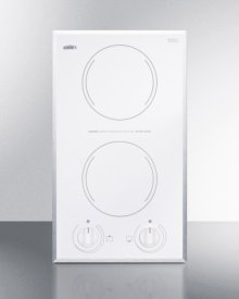 2-burner Electric Cooktop In Smooth White Ceramic Glass Finish