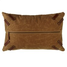 Antique Canvas Pillow with Center Zipper and Faux Leather Accents.