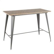 Oregon Counter Table - Grey Metal, Bamboo