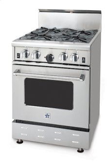 "24"" BlueStar - Residential Power Burner (RPB). All gas range.. Features NOVA™, SUPERNOVA™, and Simmer Burners for up to 18,000 BTUs .. Convection fan system for most complete exchange of air possible.. Largest oven capacity available on a 24"" range.. 24"" depth for compatibility with standard kitchen cabinetry.. Oven door window.. 1850(DEGREE) infrared broiler.. Full motion grates.."