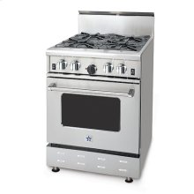 """24"""" BlueStar - Residential Power Burner (RPB). All gas range.. Features NOVA™, SUPERNOVA™, and Simmer Burners for up to 18,000 BTUs .. Convection fan system for most complete exchange of air possible.. Largest oven capacity available on a 24"""" range.. 24"""" depth for compatibility with standard kitchen cabinetry.. Oven door window.. 1850(DEGREE) infrared broiler.. Full motion grates.."""