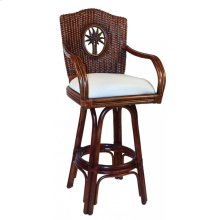"Bimini Indoor Swivel Rattan & Wicker 30"" Bar Stool in TC Antique Finish with Cushion"
