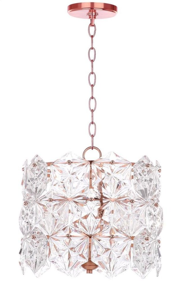Sena 4 Light 14-inch Dia Adjustable Pendant - Clear / Copper Shade Color: Clear