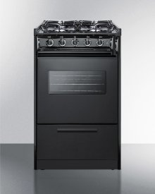 "20"" Wide Slide-in Gas Range In Black With Sealed Burners, Oven Window, Light, and Electronic Ignition; Replaces Tnm114rw/ttm1107cswrt"