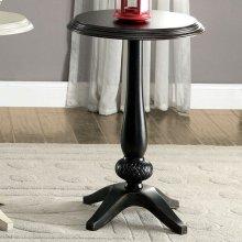 Saira Round Accent Table, Antique Black