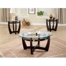 Contemporary Cappuccino Three-piece Round Table Set
