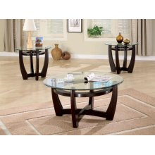 Contemporary Cappuccino Three-piece Round Table Set
