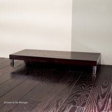 "Free-standing bench with polished stainless steel legs, 39 3/8""W, 17 3/4""D, 5 1/2""H"
