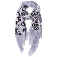 Light Grey Floral Embroidered Scarf. Product Image