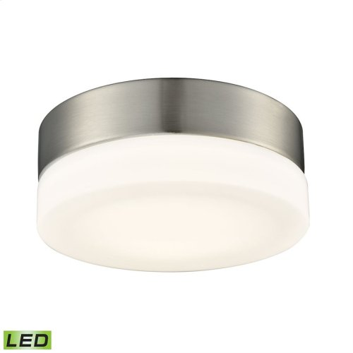 1 Light Round Flushmount in Satin Nickel with Opal Glass - Small