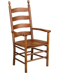 Slat Back Arm Chair w/ Wood Seat