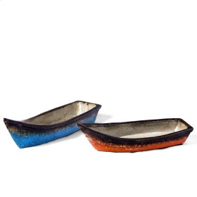 Turquoise & Orange Boats( Set of 2)