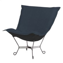 Scroll Puff Chair Sterling Indigo Titanium Frame