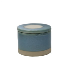 Round Blue Glazed Box