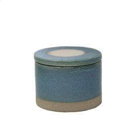 Round Blue Glazed Box
