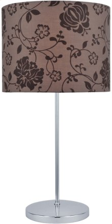 Table Lamp, Chrome/printed Fabric Shade, E27 Cfl 13w