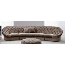 Divani Casa Cosmopolitan Mini - Transitional Acrylic Crystal Tufted Fabric Sectional Sofa
