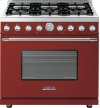 Range DECO 36'' Classic Red matte, Chrome 6 gas, gas oven