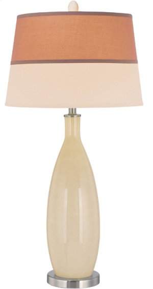 Table Lamp, Ps/ivory Glass Body/fabric Shade, E27 Cfl 23w