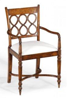 Rope Twist Veneer Open Back Chair (Arm)
