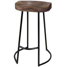 Gavin  17in X 15in X 26in Sculpted Counter Stool  Solid Acacia Seat & Black Wrought Iron Base