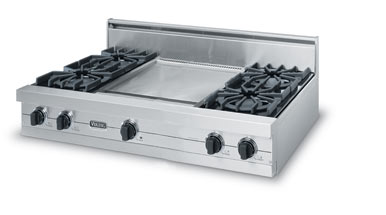 """Almond 42"""" Open Burner Rangetop - VGRT (42"""" wide rangetop with four burners, 18"""" wide griddle/simmer plate)"""