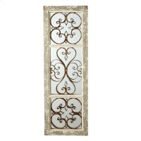 Distressed Grey Window Mirror with Scroll. Product Image