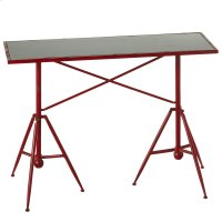 Distressed Red Tripod Base Table. Product Image