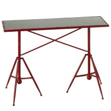 Distressed Red Tripod Base Table.