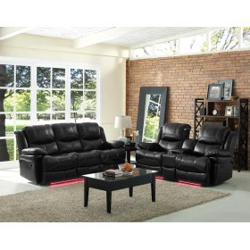 Dual Rec Power Sofa w/ Lights