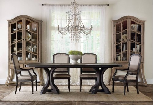 Corsica Dark Rectangle Pedestal Dining Table w/2-20in Leaves