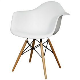 Carl Molded PP Arm Chair Maple Dowel Legs, White