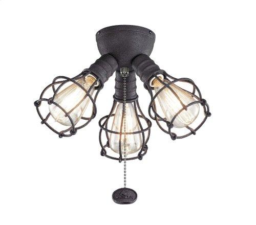 3 Light Industrial Decorative Fitter Light Kit Distressed Black