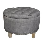 Grayson Button Tufted Grey Linen Ottoman Product Image