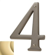 Non-Lacquered Brass House Number - 4