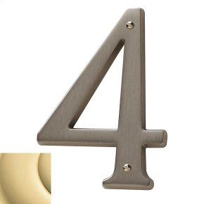 Polished Brass House Number - 4