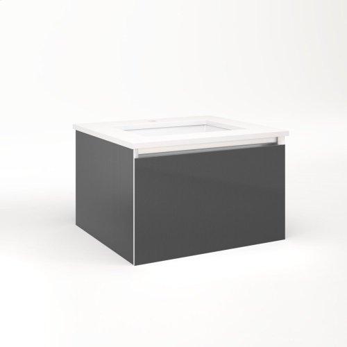 "Cartesian 24-1/8"" X 15"" X 21-3/4"" Single Drawer Vanity In Smoke Screen With Slow-close Plumbing Drawer and No Night Light"