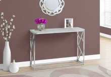 """ACCENT TABLE - 44""""L / GREY CEMENT / CHROME METAL"""